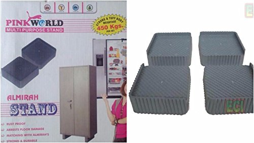 Pink World 4 Pieces Multi Purpose Almirah,Furniture Stand Wardrobe, Refrigerator Foot Legs Rest Bear 450 Kgs (Grey or Black)  available at amazon for Rs.299