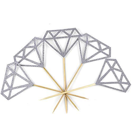 DOGZI Kuchenform Backformen Set, Küche Backen Back- & Tortenbodenformen, 30pcs Toppers Silber Glitter Diamant für Cupcake Bridal Shower Dekoration