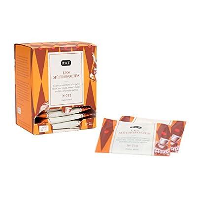 P & T Les Métrofolies, Master Blend de Thé Noir Bio, Mélange de Thé Noir Chinois avec du Chocolat et de l'Orange, 15 Sachets de Thé en Coton (45g / 1,6oz)