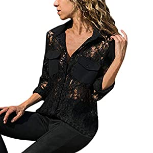 Oasics2019 Frauen Sexy Long Shirt Top Robuste Langarm V-Ausschnitt Spitze Panel Button Front Shirt Top S-2XL