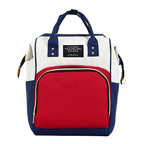 Mummy Bag Fashion Umhängetasche aus multifunktionaler Großraum-Mutter- und Babytasche mit Isolierfach, rot, weiß und blau