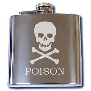 Amazing Engraving Flasque personnalisable avec capuchon attaché Poison Design Gravure gratuite.