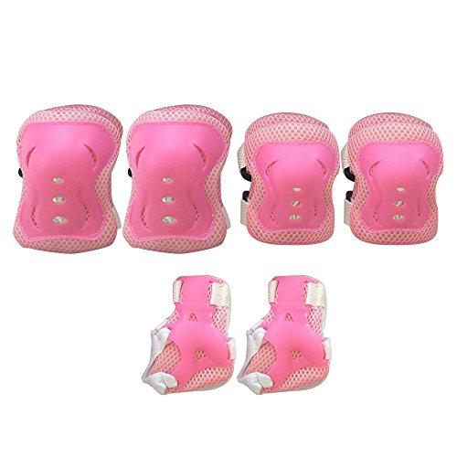 BEETEST Cojines codo muñeca protecciones rodilleras niños para 4-12 años niño y niña niños niños bicicleta Roller Skating cumpleaños Navidad regalo Set de 6 Rosa