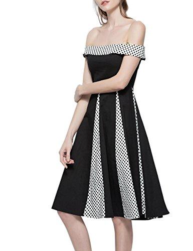 iShine elegant Retro Kleider Damen A-Linie Schulterfrei 50er Vintage Rockabilly Partykleid Knielang Cocktailkleid mit Streifen Schwarz