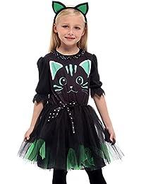EOZY Halloween Cosplay Gatto Costume Bambina Carnevale Vestito Nero 4291dd23b0e