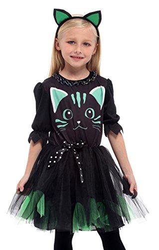 Lukis Kinder Kostüm Mädchen Verkleidung Karneval Party Halloween Fest Katze Körpergröße (Hexe Kostüm Tragen Katze)