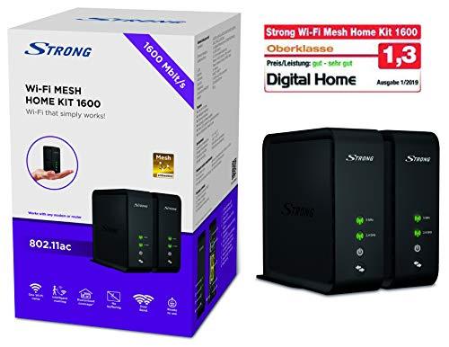 STRONG Wi-Fi Mesh Home Kit 1600, WLAN Verstärker, Heimnetzwerk Repeater bis 200 m² Abdeckung, bis 1600 Mbit/s, 2.4+5 GHz, 2x Gigabit LAN, USB 3.0) schwarz (1600 Verstärker)