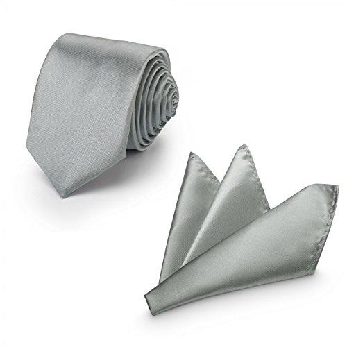 Rusty Bob - Krawatte mit Einstecktuch (in vielen Farben) - für die Verlobung, die Hochzeit - Schlips mit Taschentuch für das Sakko - 2er-Set - Silber-Grau