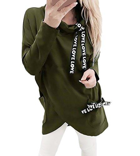 HX fashion Felpa Donna Sportiva Manica Lunga Collo Alto Sciolto Irregolare Asimmetrico Elegante Vintage Stampa Di Lettere Autunnali Invernale Casual Felpe Pullover Sweat Shirts Tops Verde