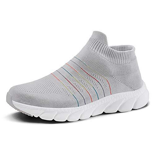 anbiwangluo Damen Trainer Gym Schuhe Leichte Wanderschuhe für Damen Laufsportschuhe Sneakers Grau 36 EU