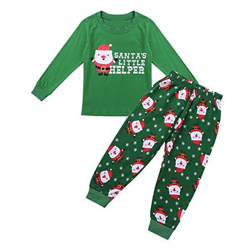 YiZYiF Unisex Kinder Weihnachten Pyjama Sets Schlafanzug Outfit Kleinkind Baby Langarm Shirt Sweatshirt Lange Hose Pants Set Nachtwäsche Sleepwear Grün 92-98 ()