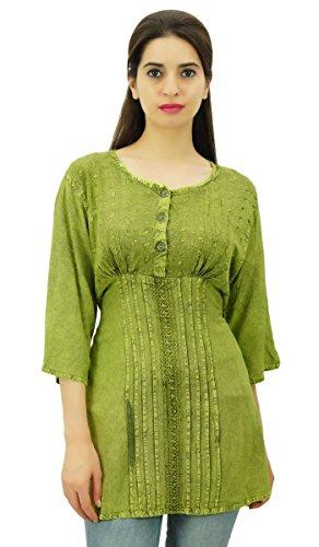 Button Down Tunika Top Damen tragen 3/4 Hülse gestickte beiläufige Gewebe Rayon Grün