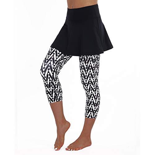 ANIVIVO Tennis-Leggings für Damen, Rock Capri-Leggings, Tennis-Hosen für Damen & Schwimmen Capri-Leggings mit Rock, Damen, Stripe Color, XXX-Large Stripe Flare Leggings