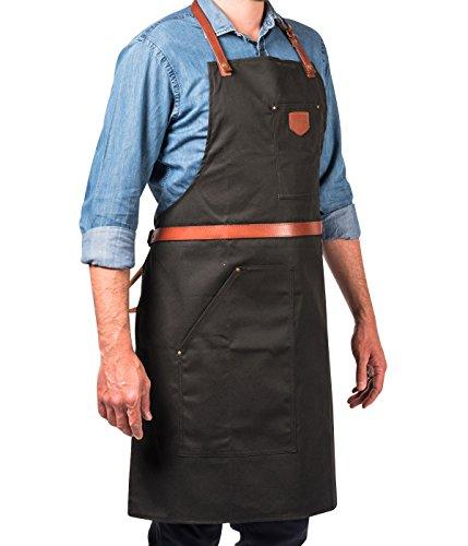 Schicke Schürze aus geöltem Baumwollgewebe und Leder mit mehreren Taschen - ALASKAN MAKER N°239 - Bindebänder - Universalgröße für Damen und Herren