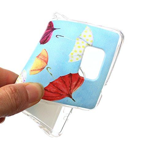 Ekakashop Coque pour Samsung Galaxy Alpha SM-G850F, Ultra Slim-Fit Flexible Souple Housse Etui Back Case Cas en Silicone pour Galaxy Alpha SM-G850F, Soft Cristal Clair TPU Gel imprimée Couverture Bump Parapluies Colorés