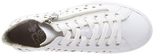 Rieker L59h0, Scarpe da Ginnastica Basse Donna Bianco (Weiss/silver)