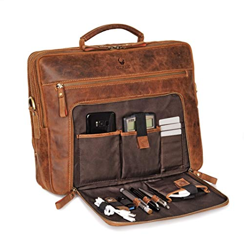 Leder-laptop-aktentasche (Donbolso Laptoptasche San Francisco 15,6 Zoll Leder I Umhängetasche für Laptop I Aktentasche für Notebook I Tasche für Damen und Herren (Braun))