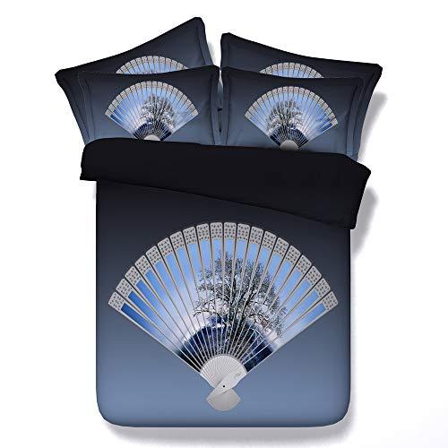 CHAOSE Frosch-Ära Bettwäsche Set,Superweiche Polyester-Baumwolle,3D Digital HD Malerei 3-teilig (1 Bettbezug + 2 Kissenbezüge) (Chinesischer Fan, Double Size(200x200cm+2/70x50cm 1.8M Breites Bett)) - Frösche Baby-bettwäsche-sets