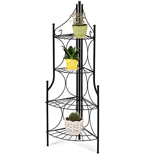 Blumentreppe mit 4 Etagen | rund, aus Metall, in Schwarz | Pflanzentreppe, Pflanzenregal, Blumenregal, Eck Blumentreppe, Blumenbank - Metall-eckregal