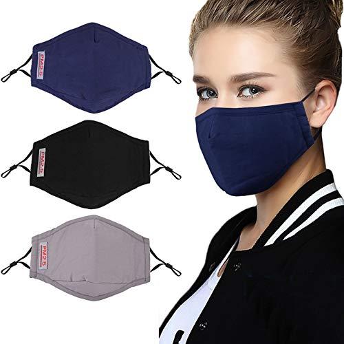 WARDE 3 stücke Mode Gesicht Mund Maske Anti Staubmaske PM2.5 Filter Winddicht Mund-muffel Bakterien Nachweis Grippe Gesichtsmasken Pflege Wiederverwendbare, Multi,> 8Y