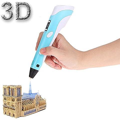Foxpic 3D Pen Penna Intelligente 3D, Penna-stampante 3D, Penna Tridimensionale con Supporto di Scurezza, con Filamenti e Display di Temperatura (Blu)