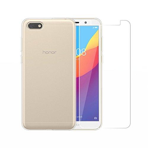 LJSM Huawei Honor 7S Hülle Transparent + Panzerglas Bildschirmschutzfolie Schutzfolie - Weich Silikon Schutzhülle Crystal Flexibel TPU Tasche Case für Huawei Honor 7S (5.45