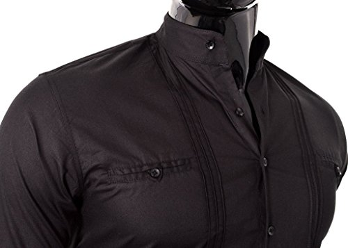 Elégant D&R Fashion Shirt Hommes avec Band Collar Slim Fit Blanc Noir coton Noir