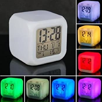 Cpixen 7 Colour Changing LED Digital Alarm Clock with Date, Time, Temperature For Office Bedroom