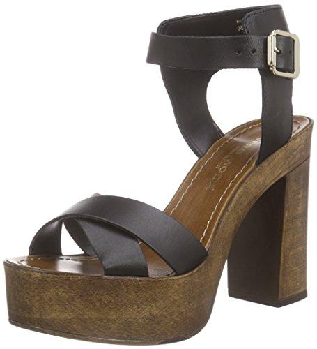 Vero Moda Vmbea Leather Sandal, Sandales Plateau Femme Noir - Noir