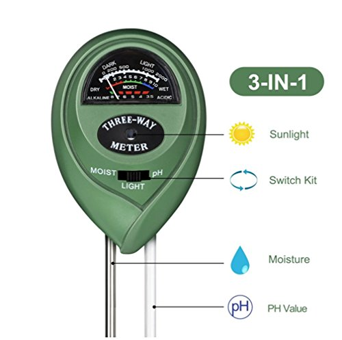 NiceButy 3-in-1 Soil Moisture Meter Light and PH acidity Tester Plant Soil Great For Garden Farm Lawn Indoor Outdoor (No Battery needed)