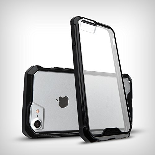 iPhone 7 Case,Easymoo Air Cushion Shockproof TPU Bumper + Clear PC Hard Back Protective Case for Apple iPhone 7 -- Black Black