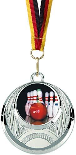 Verlag Reiner Kullack 10er-Set Medaillen »Bowling«, mit 25 mm Sportfoto-Emblem (Folie, bunt), Medaille mit Band für Turnier oder als Mitgebsel für Kindergeburtstag