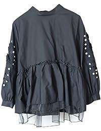 Bluse Damen Vintage Kawaii Longsleeve Netz-Garn Stitching Oberteile Elegant  Fashion Jungen Schöne Frühling Locker Einfarbig mit Pailletten Hemd… f7eb7d629f