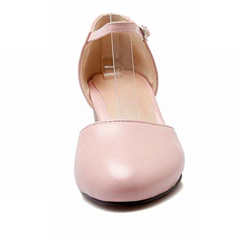 Mee Shoes Damen chunky heels Ankle Strap Geschlossen Pumps Pink