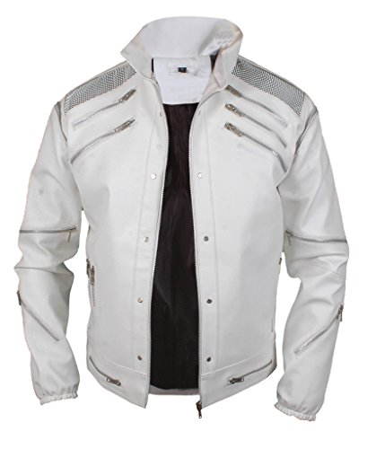 F&H Men's Michael Jackson Beat It Genuine Leather Jacket white