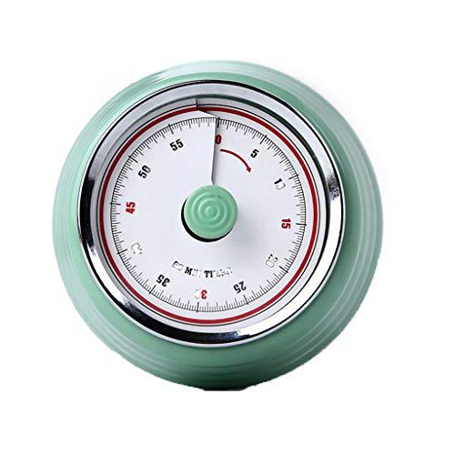 VNEIRW Küchentimer Magnetisch Mechanisch Runde Kurzzeitmesser Kurzzeitwecker Zeitmesser Sound Countdown Timer Home Backen Kochen Steaming Manual Timer (Grün)