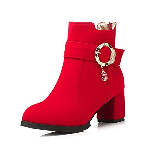AllhqFashion Damen Rein Nubukleder Reißverschluss Rund Zehe Stiefel mit Anhänger Rot
