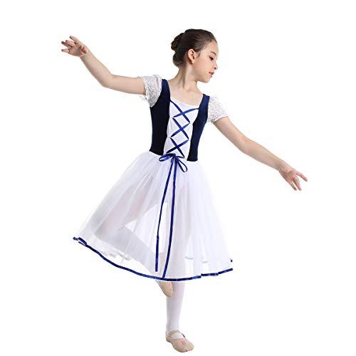 Inhzoy Vestido de Danza Clásica para Niña Maillot Ballet con Falda Disfraz de Bailarina Vestido Tutú...