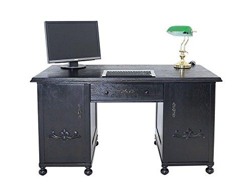 Antike Fundgrube Schreibtisch Schreibmöbel Bürotisch um 1930 Eiche in schwarz 76x141x76 cm (6065)