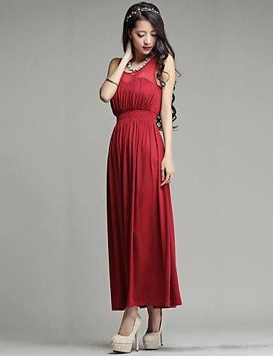 PU&PU Robe Aux femmes Swing Décontracté , Couleur Pleine Sans Bretelles Maxi Polyester BLACK-XL