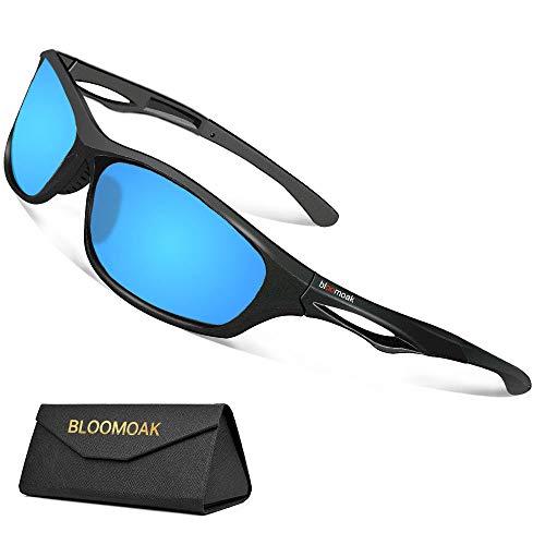 Bloomoak Beste Polarisierte Sonnenbrillen Radsport-Brillen Herren Damen/UV-Schutz/unzerbrechlicher TR90-Rahmen - geeignet für Fahren/Laufen/Radfahren/Angeln/Golf(Blau)