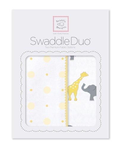 SwaddleDesigns SwaddleDuo, 2er Set, Baumwollmusselin und Baumwollflanell, Spaß im Zirkus, Gelb, 2er Set