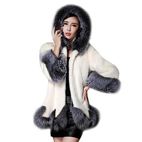 JiaMeng Damen Pelzmantel Kunstpelz Mantel Gefälschter Pelz Jacken Damen Elegant Faux Fox Pelz Winterjacke Fell Wintermantel Outerwear Jacke Kapuze Steppmantel Kleid