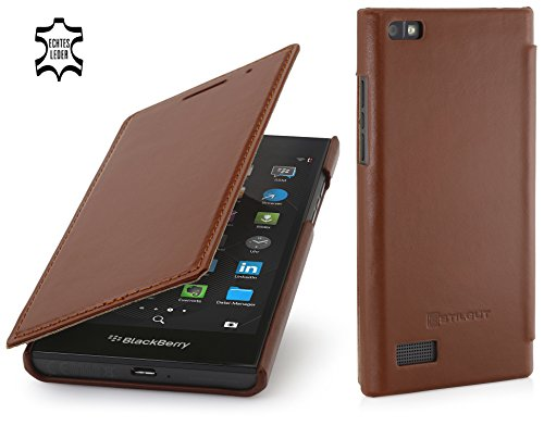 StilGut Book Type Case, dünne Hülle Leder-Tasche für BlackBerry Leap. Seitlich klappbares Flip-Case aus Echtleder für BlackBerry Leap, Cognac
