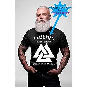 """Herren Premium T-Shirt""""Sieg oder Valhalla"""" anpassbar mit Name in Runen Schrift Wikinger Fan Viking Nordmann Nordmänner Heide Heiden Heidentum"""