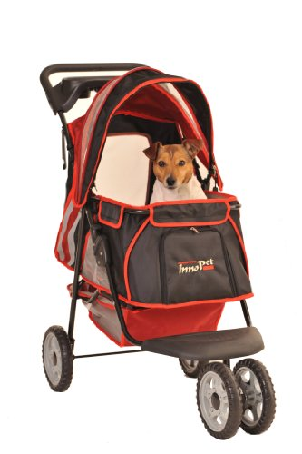 "InnoPet® Hundebuggy Hundewagen Kinderwagen für Hunde rot schwarz klassisch Pet Stroller Modell ""All Terrain"" Hundekinderwagen Katzenbuggy"