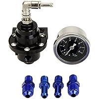 KKmoon Alta Potencia Regulador de Presión de Combustible Ajustable con Aceite Gauge Manómetro para Auto