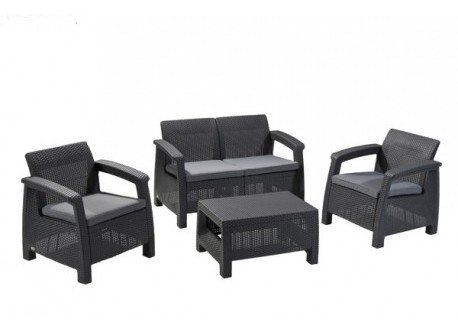 Lounge Set Rattan 4P. Anthrazit Lounge