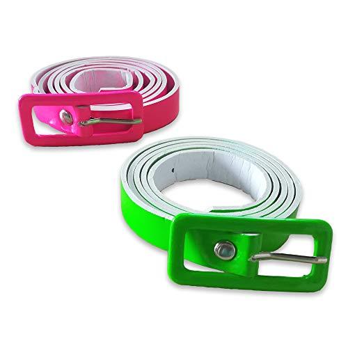 EVENTLIGHTS Neon UV Gürtel Set pink & grün - Schwarzlicht Party - UV Schwarzlicht Leuchteffekt