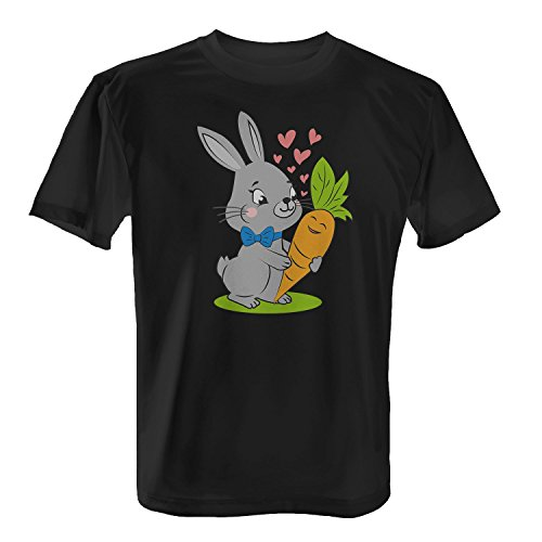 Fashionalarm Herren T-Shirt - Oster Hase mit Möhre   Fun Shirt mit Motiv als Geschenk Idee zu Ostern & für verliebte Paare, Farbe:schwarz;Größe:L